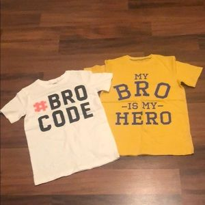 NEW Tops size 8 'Bro' themed; Oshkosh & Carter's